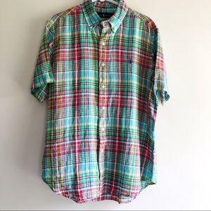Ralph Lauren Shirt Sleeve Linen Madras Plaid L